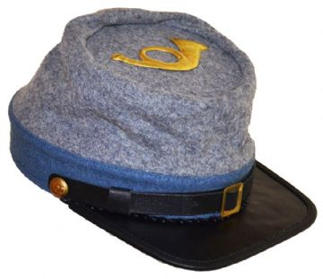 Confederate Grey Infantry Kepi With Blue Trim And Infantry Badge